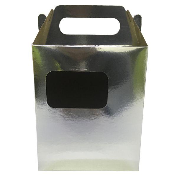 Caixinha cromada para caneca de chopp (com janela e suporte interno)