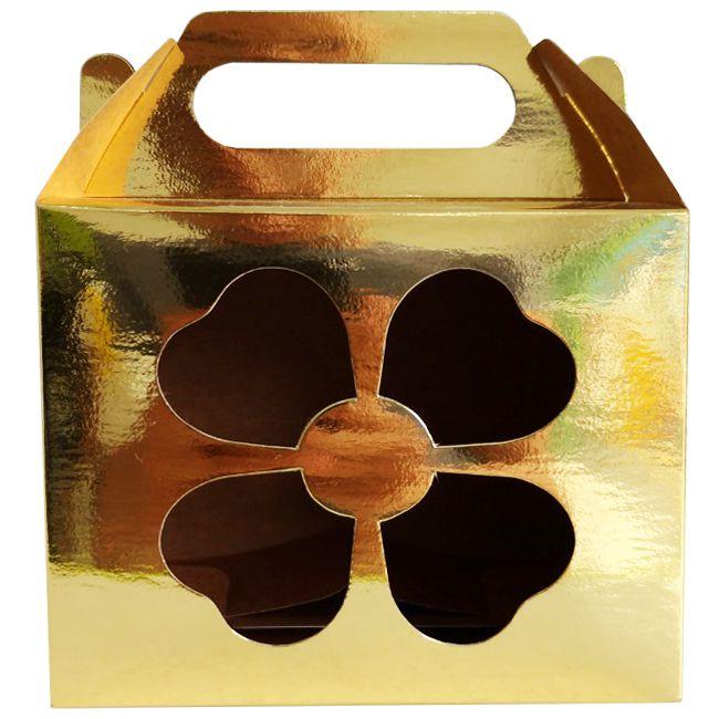 Caixinha dourada para caneca - (Com janela decorativa TREVO e alça)  - ALFANETI COMERCIO DE MIDIAS E SUBLIMAÇÃO LTDA-ME