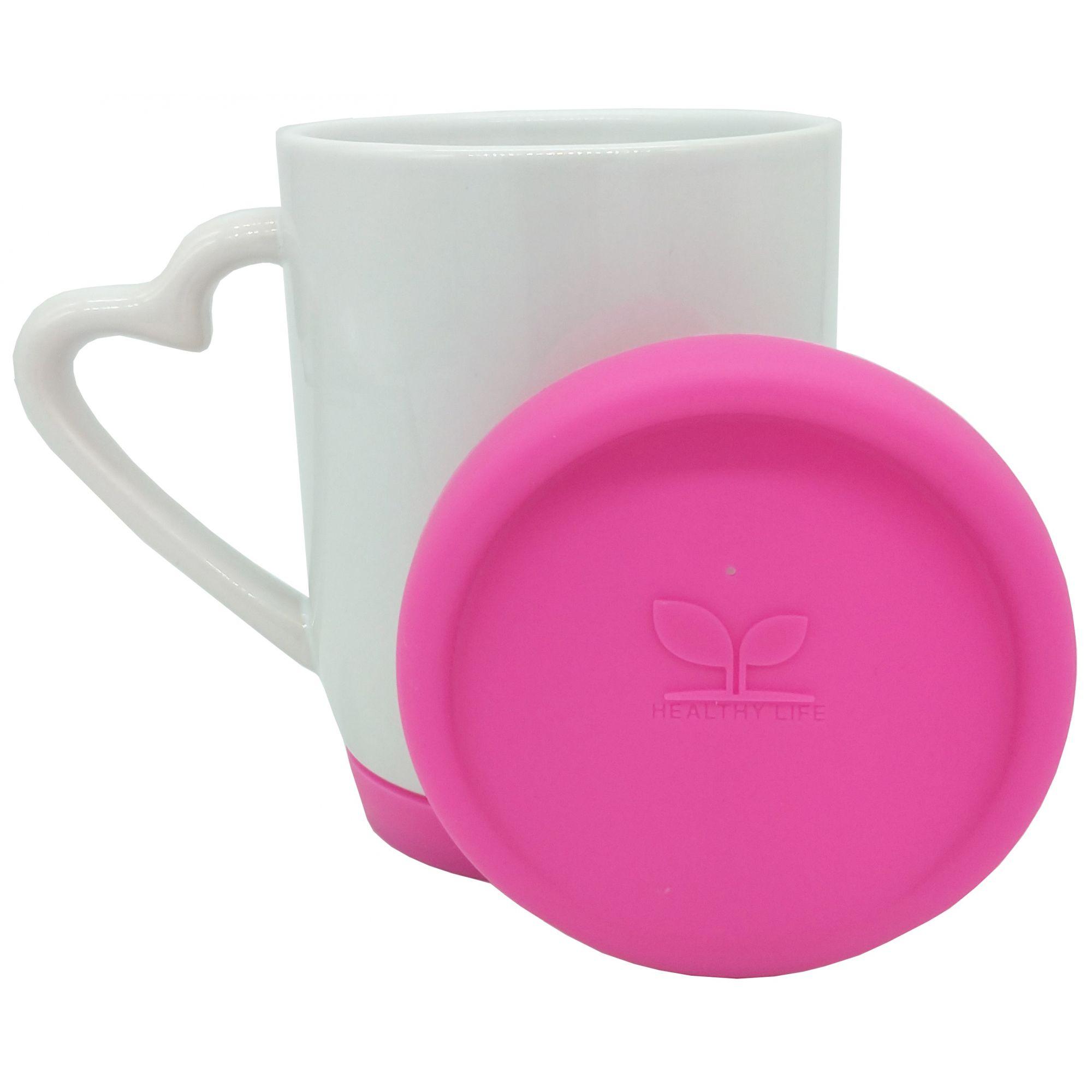 Caneca alça de coração em cerâmica branca com tampa e base de silicone Rosa Pink - Classe A  - ALFANETI COMERCIO DE MIDIAS E SUBLIMAÇÃO LTDA-ME