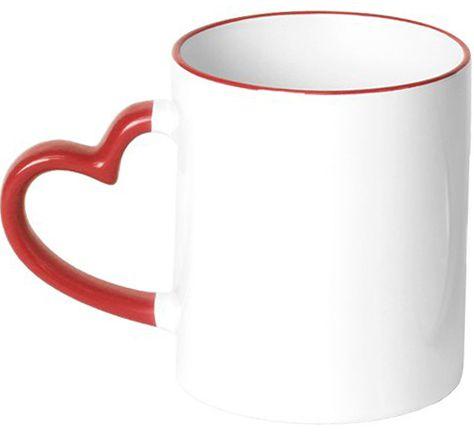 Caneca Branca alça coração em Cerâmica Classe A (Borda e alça vermelho)