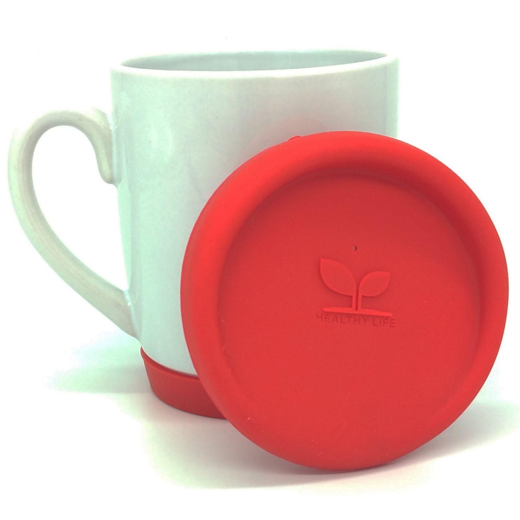 Caneca de cerâmica com tampa e base de silicone Vermelho - Classe A  - ALFANETI COMERCIO DE MIDIAS E SUBLIMAÇÃO LTDA-ME