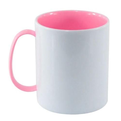 Caneca em Polímero Para Sublimação Branca com Alça e Interior Rosa Bebe 325ml  - ALFANETI COMERCIO DE MIDIAS E SUBLIMAÇÃO LTDA-ME