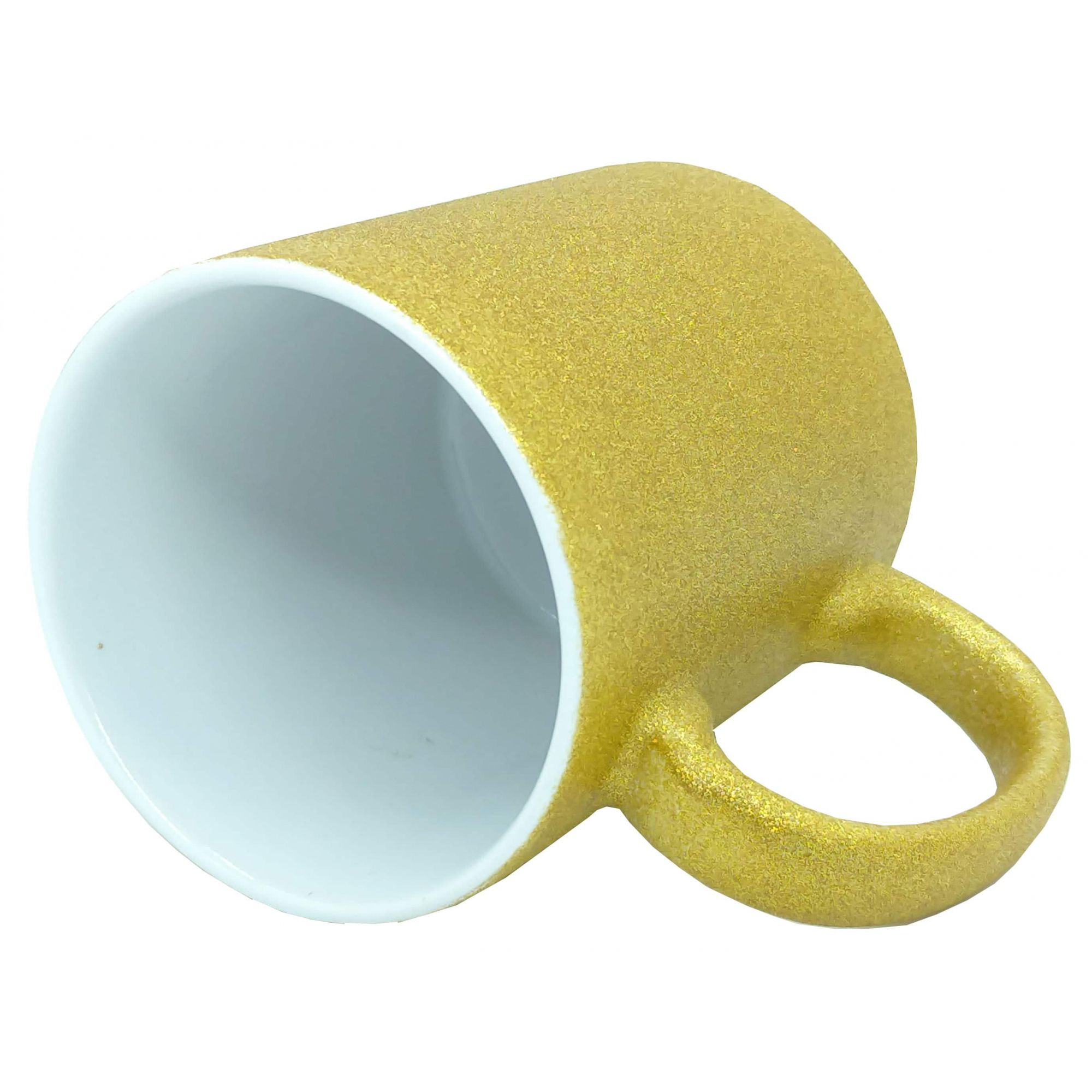 Caneca para Sublimação de Cerâmica Glitter Dourado - Classe A  - ALFANETI COMERCIO DE MIDIAS E SUBLIMAÇÃO LTDA-ME