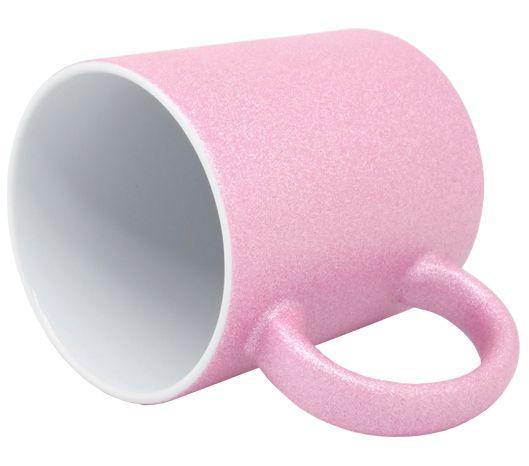 Caneca para Sublimação de Cerâmica Glitter Rosa claro - Classe A  - ALFANETI COMERCIO DE MIDIAS E SUBLIMAÇÃO LTDA-ME