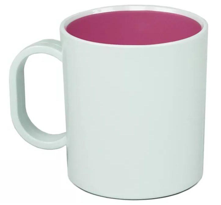 Caneca Plástica Sublimática Interior Rosa (Polímero) Classe AAA 325 mL  - ALFANETI COMERCIO DE MIDIAS E SUBLIMAÇÃO LTDA-ME