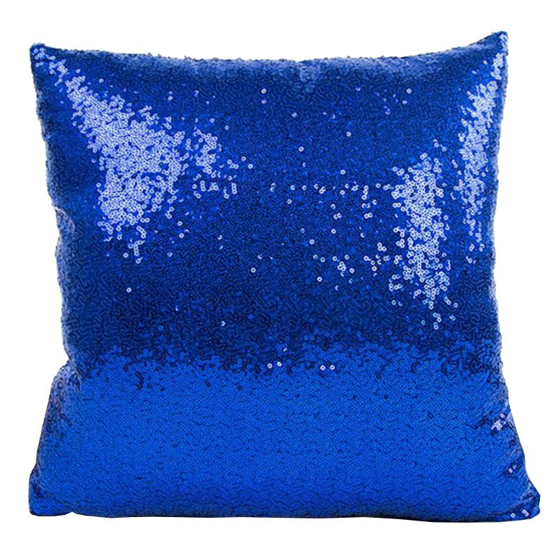Capa de Almofada com lantejoulas Sublimática azul/branco 40x40 (Mágica muda de cor)  - ALFANETI COMERCIO DE MIDIAS E SUBLIMAÇÃO LTDA-ME
