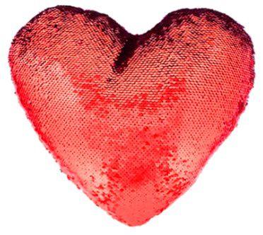 Capa de Almofada coração com lantejoulas Sublimática vermelho/branco 39x44 (Mágica muda de cor)  - ALFANETI COMERCIO DE MIDIAS E SUBLIMAÇÃO LTDA-ME