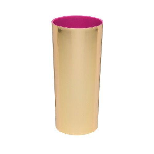 Copo Long Drink Acrílico Metalizado Dourado Interior Rosa - 350ml  - ALFANETI COMERCIO DE MIDIAS E SUBLIMAÇÃO LTDA-ME