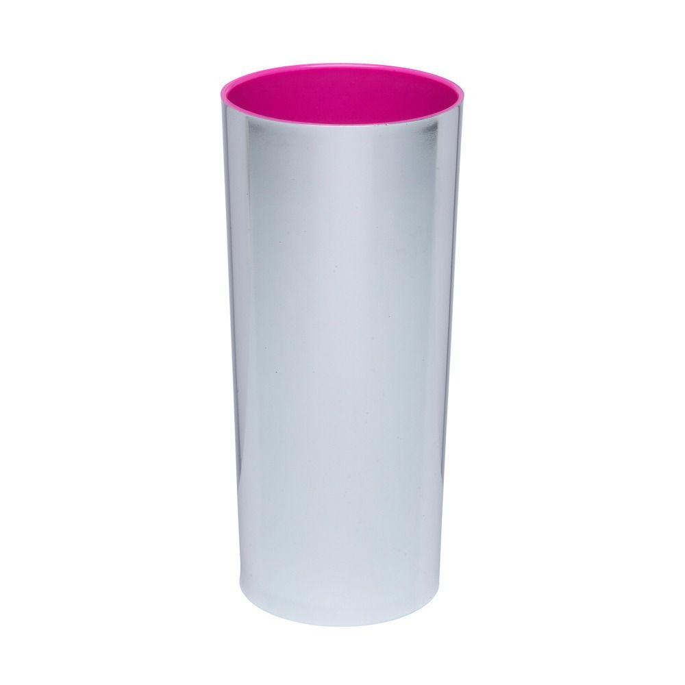 Copo Long Drink Acrílico Metalizado Prata Interior Rosa - 350ml  - ALFANETI COMERCIO DE MIDIAS E SUBLIMAÇÃO LTDA-ME