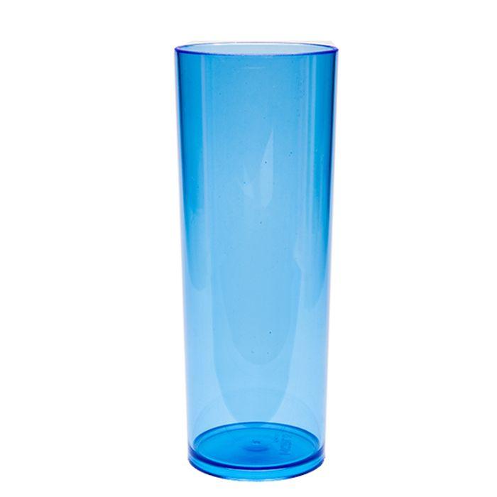 Copo Long Drink de Acrílico Azul Translúcido - 350ml  - ALFANETI COMERCIO DE MIDIAS E SUBLIMAÇÃO LTDA-ME