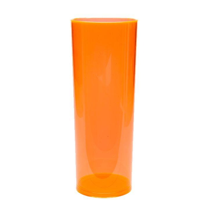Copo Long Drink de Acrílico laranja neon - 350ml  - ALFANETI COMERCIO DE MIDIAS E SUBLIMAÇÃO LTDA-ME