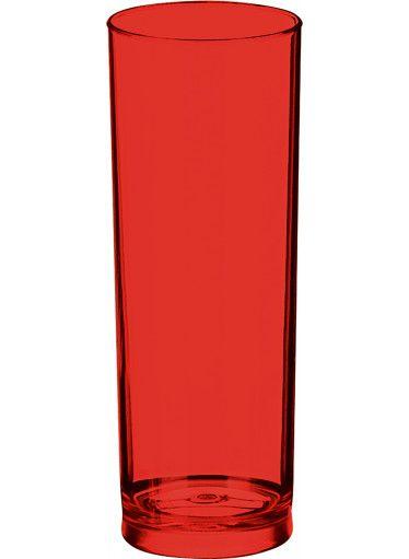 Copo Long Drink de Acrílico Vermelho Translúcido - 350ml  - ALFANETI COMERCIO DE MIDIAS E SUBLIMAÇÃO LTDA-ME