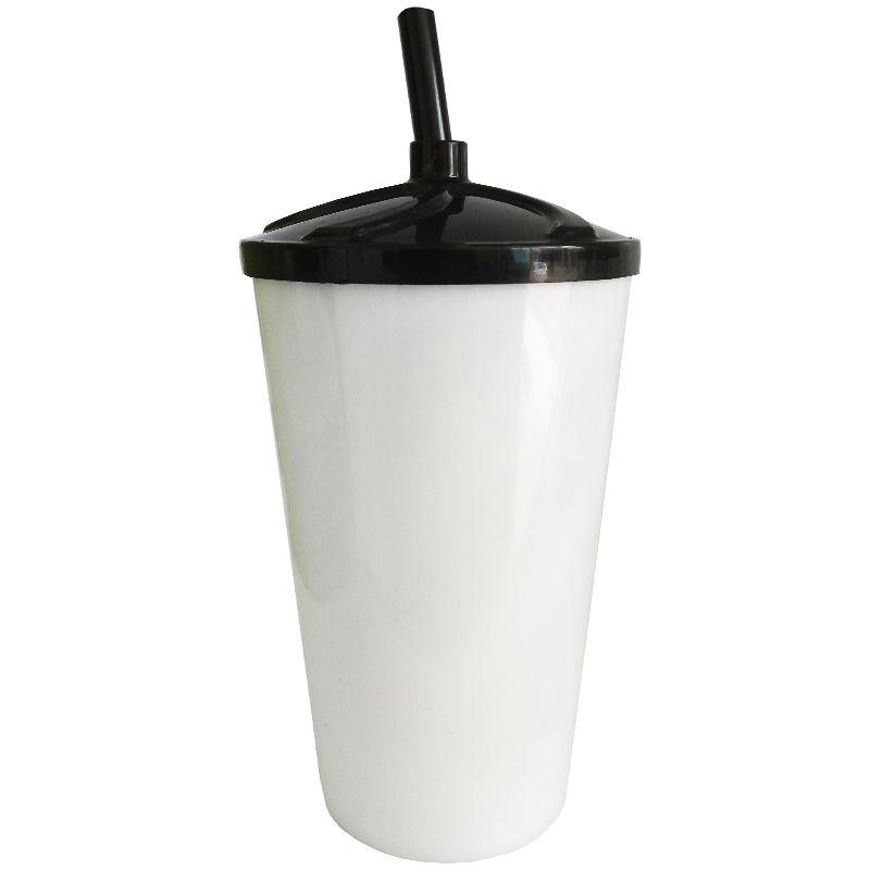 Copo Twister  Acrílico branco sólido tampa/canudo (PRETO) - 500ml   - ALFANETI COMERCIO DE MIDIAS E SUBLIMAÇÃO LTDA-ME