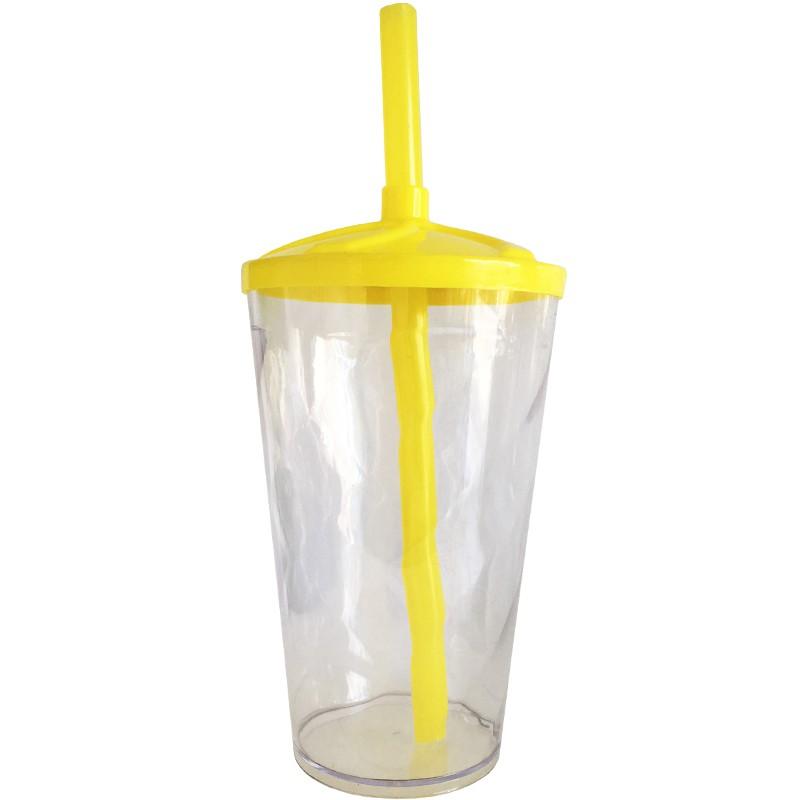 Copo Twister de Acrílico cristal e tampa/canudo (AMARELO) - 300ml ou 500ml  - ALFANETI COMERCIO DE MIDIAS E SUBLIMAÇÃO LTDA-ME