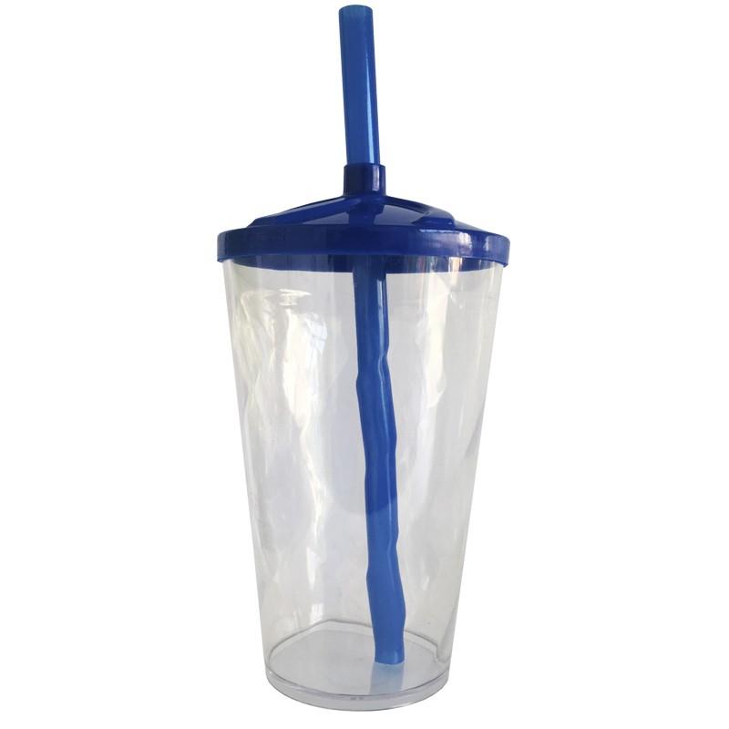 Copo Twister de Acrílico cristal e tampa/canudo (AZUL ESCURO) - 500ml ou 700ml