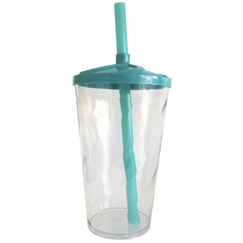 Copo Twister de Acrílico cristal e tampa/canudo (AZUL TIFFANY) - 500ml ou 700ml