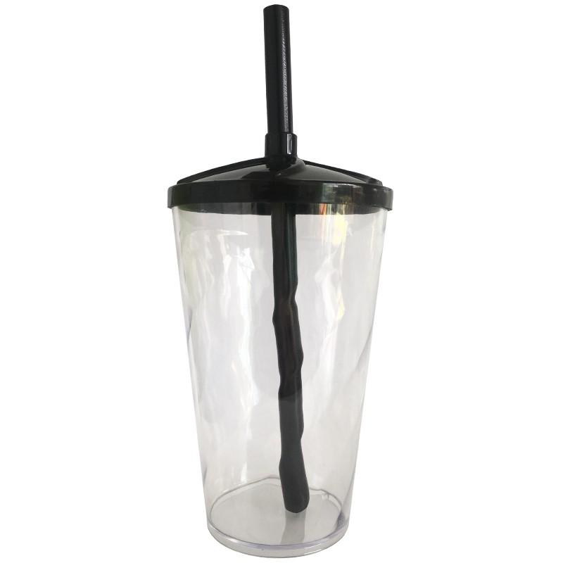 Copo Twister de Acrílico cristal e tampa/canudo (PRETO) - 500ml ou 700ml