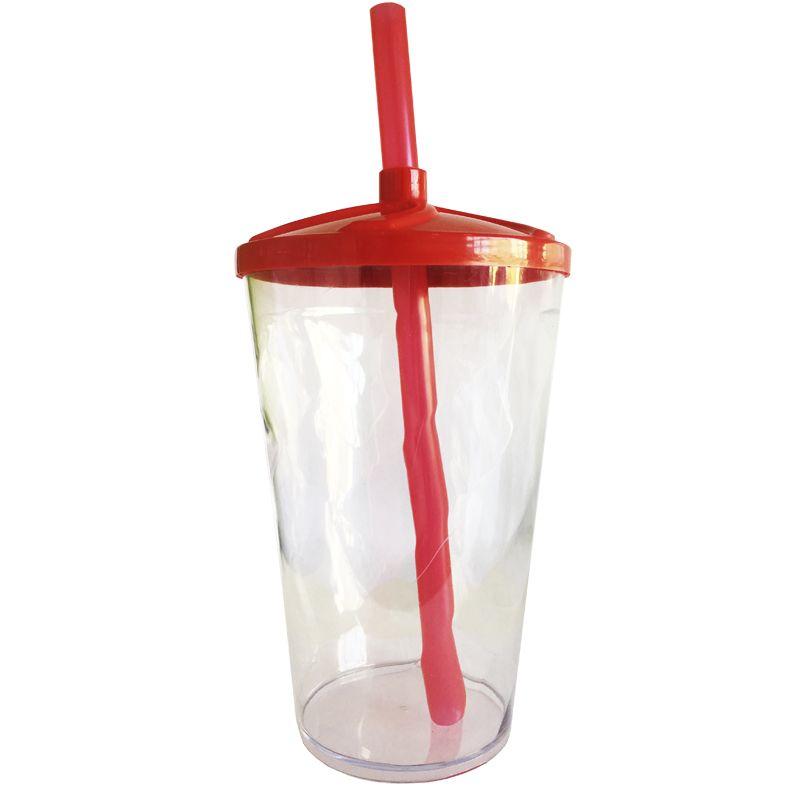 Copo Twister de Acrílico cristal e tampa/canudo (VERMELHO) - 500ml ou 700ml