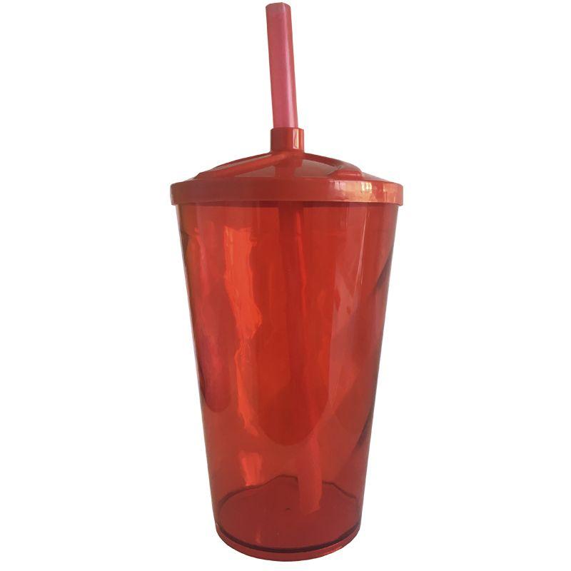 Copo Twister de Acrílico cristal VERMELHO e tampa/canudo (VERMELHO) - 500ml   - ALFANETI COMERCIO DE MIDIAS E SUBLIMAÇÃO LTDA-ME