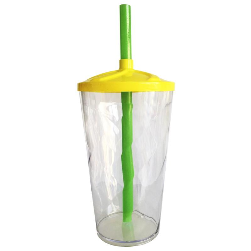 Copo Twister de Acrílico cristal tampa amarela e canudo verde (Brasil) - 500ml ou 700ml