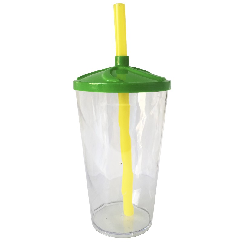 Copo Twister de Acrílico cristal tampa Verde e canudo Amarelo (Brasil) - 500ml ou 700ml