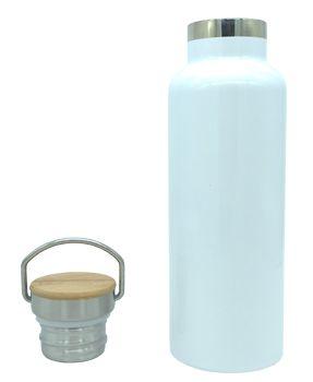Garrafa Térmica Branco 500ml para sublimação (tampa bambu)  - ALFANETI COMERCIO DE MIDIAS E SUBLIMAÇÃO LTDA-ME