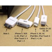 Cabo USB 5 em 1 iPhone 4S/5S/V8/SAMSUNG Tablet / Novo V8 X10 - Sarcompy