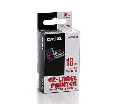 Fita Rotuladora Casio XR-18WER1 18mm vermelho no branco para etiquetadora KL