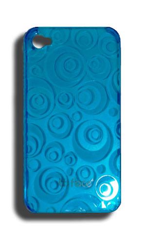 Capa de IPhone 4/S de Policarbonato Texturizado Em Linhas Coloridas BB-CIRCLE-BL Acompanha Película Protetora Aplicador de Película Flanela para Limpeza