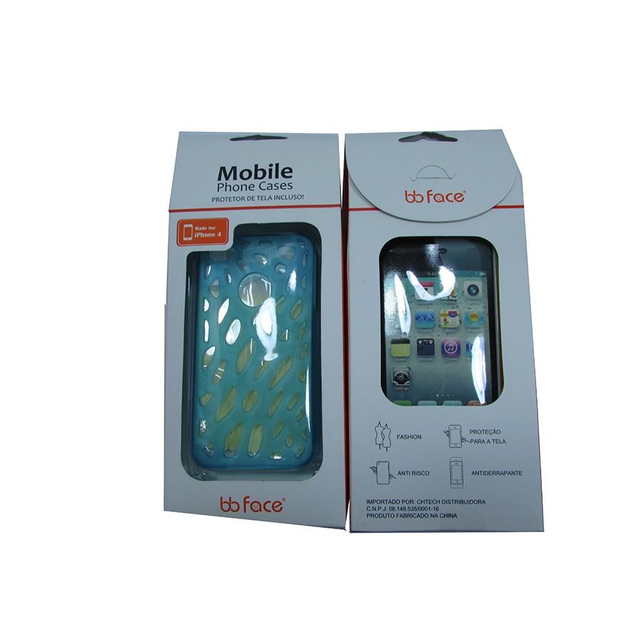 Capa de IPhone 4 de Policarbonato Texturizado Em Linhas Coloridas BB-GRID BLUE Acompanha Pel�cula Protetora Aplicador de Pel�cula Flanela para Limpeza