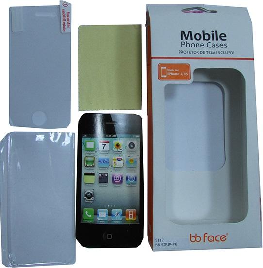 Capa de IPhone 4/4S de Policarbonato Texturizado Em Linhas Coloridas BB-GRID-GY Acompanha Película Protetora Aplicador de Película Flanela para Limpeza