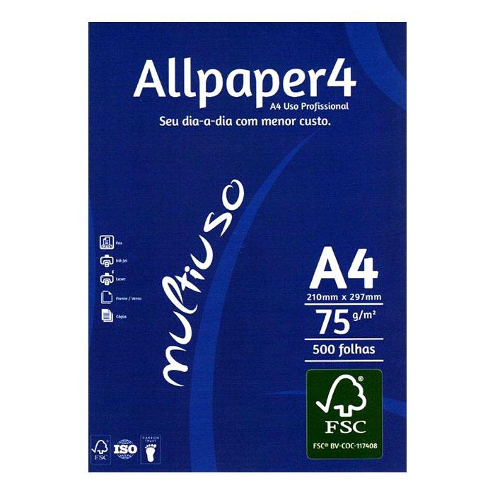 Papel sulfite A4 Branco com 15000 folhas Allpaper