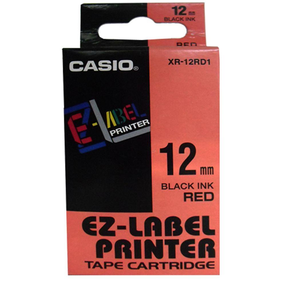 Fita Rotuladora Casio XR-12RD1 12mm preto no vermelho para etiquetadora KL
