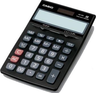 Calculadora de mesa AX-12SW-DC 12 dígitos, Solar e Bateria, Preta