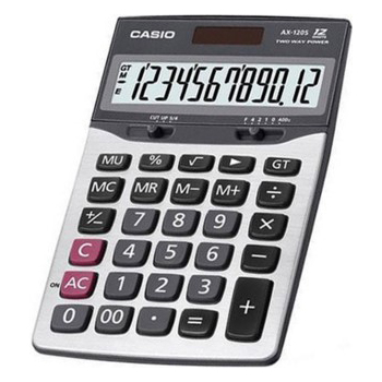 Calculadora de mesa Casio AX-120S-W Solar e Bateria, Prata