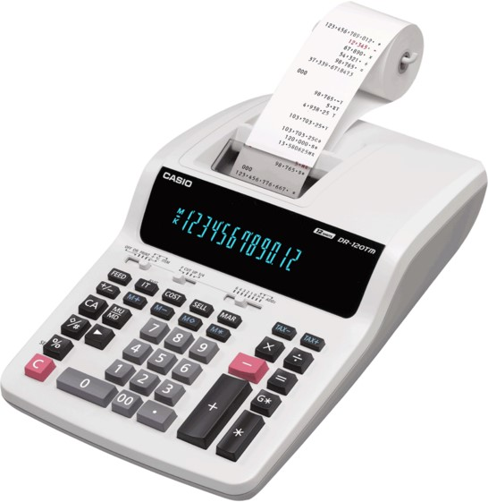 Calculadora Casio PRINTER DR-210TM-WE-B-E-DC 12 dígitos com bobina 4.4  220v