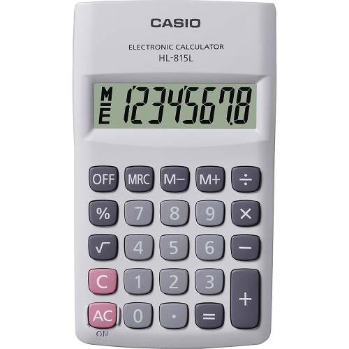 Calculadora de Bolso Casio HL-815L-WE-S4-DH Branca, 8 Dígitos,Big display com tampa