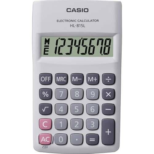 (FORA DE LINHA) Calculadora de Bolso Casio HL-815L-WE-S4-DH Branca, 8 Dígitos,Big display com tampa