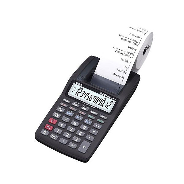 Calculadora Casio PRINTER HR-8TM-BK preta com bobina 12 dígitos, 1.6 lps