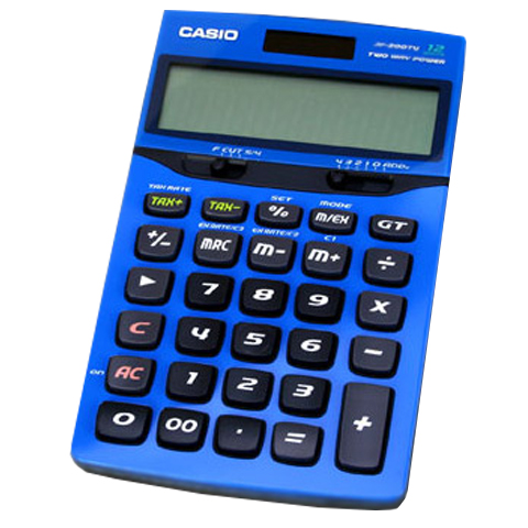 Calculadora de mesa Casio JF-200TV - Azul, solar e bateria
