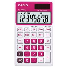 Calculadora de bolso Casio Corlorful SL-300NC-RD-S-DP 8 dígitos, Cálculo de hora, Cálculo de bolso, Vermelha