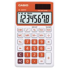Calculadora de bolso Casio Colorful SL-300NC-RG-S-DH 8 dígitos, Cálculo de hora, Cálculo de bolso, Laranja