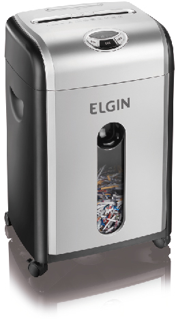 Fragmentadora de Papel Elgin FM1018 110V corta 10 folhas em micro-partículas de 3X9mm Segurança P5 CDs CC, 58Db, 18 Litros