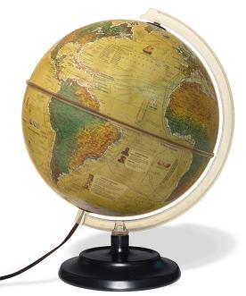 Globo Terrestre Libreria c/ 30cm de diâmetro, base plástico, 3 mapas em 1: configução física apagado e política quando aceso e histórica 220V - Iluminado HISTORICO