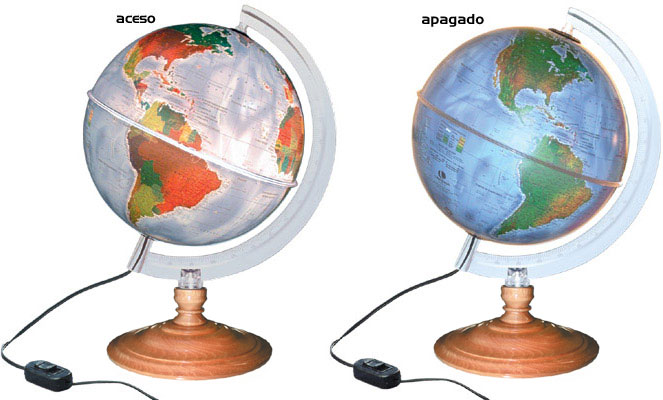 Globo Terrestre Físico e Político Libreria c/ 21cm de diâmetro, 220V base de plástico, Iluminado - STAR
