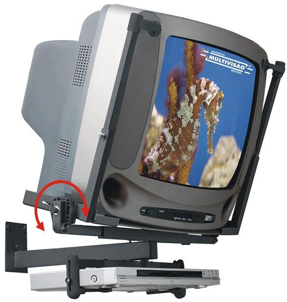 Suporte para TV CRT de 14´´ a 21´´ + DVD ou Acessório Multivisão PV50 Preto