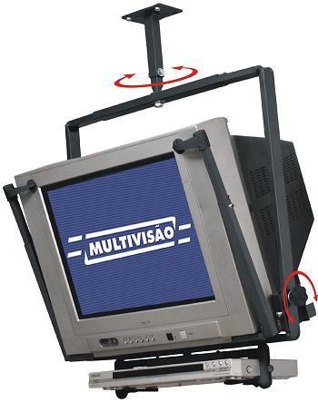 Suporte de Teto para TV CRT de 14´´ a 21´´ + DVD ou Acessório Multivisão TV12 Preto
