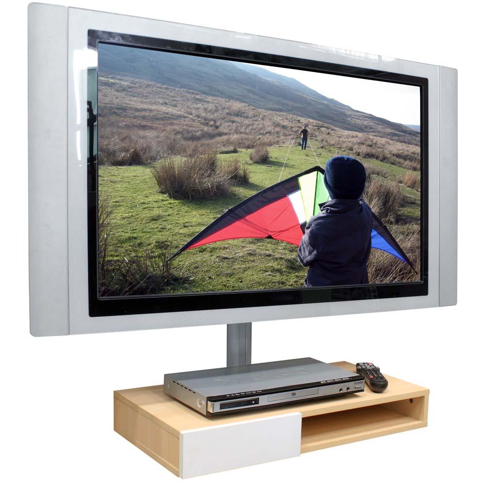 M�dulo de Parede para DVD c/ gaveta ou Acess�rios + Oculta Cabos Multivis�o SDVD500 Maple c/ Branco