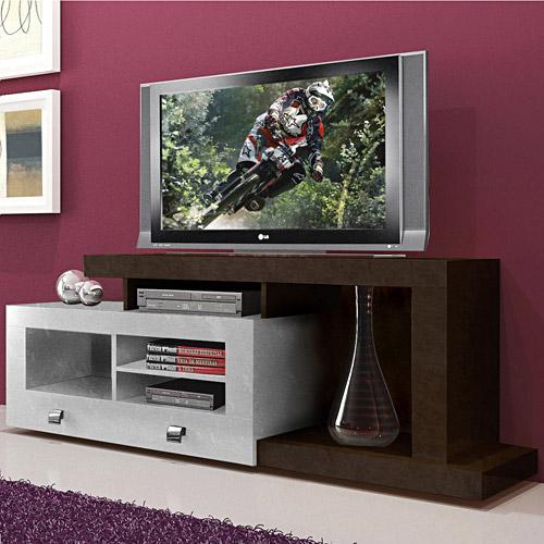 Rack para TV at� 52�� e Acess�rios Multivis�o  EVOLUTION Tabaco c/ Branco