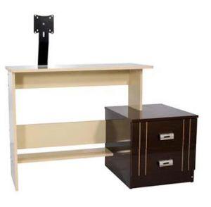 Mesa para Computador, Acessórios e Impressora + Suporte para Monitor LCD até 17´´ Multivisão  PREMIUM Maple c/ tabaco